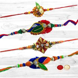 Marvelous Selection of Four Amazing Diamond Kundan Rakhi Set with Free Roli Tilak and Chawal