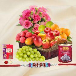 Basket Hamper of Fresh Fruits and Rose Bouquet with 1 Regular Rakhi and Roli Tilak Chawal