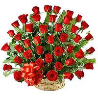 Deliver 50 Red Roses Arranged in a Basket