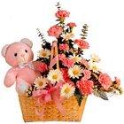 Assorted Floral N Teddy Basket Arrangement