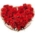 12 Heart Shaped Red Rose Arrangement