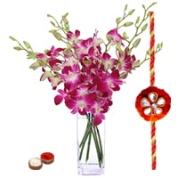 Purple Orchids in Vase with a Free Rakhi (Only for Major Cities / Towns)