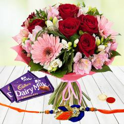 Heartening Blossom Mix with 2 Dairy Milk Chocolate with Rakhi and Roli Tilak Chawal