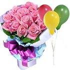Send Pink Roses with Balloons Online