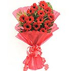 Pristine Gerberas Bunch in Red Colour