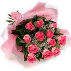Online Delivery of Fresh Pink Roses Bouquet to India