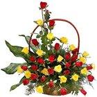 Send Online Red N Yellow Roses Basket