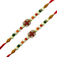 Fantastic Dual Set of  Stone Studded Rakhis