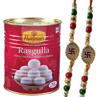 Enticing Combo of Haldirams Rasgulla with Dual Swastik Rakhi Set