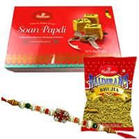 Dazzling Rakhi with Sweets N Namkeen Pack