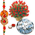 50 Red Roses with 500 gms Kaju Katli from <font color=#FF0000>Haldiram</font> with Free Rakhi,