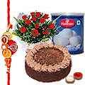 12 Red Roses, Rasgulla from <font color=#FF0000>Haldiram</font> and Eggless Cake with Free Rakhi
