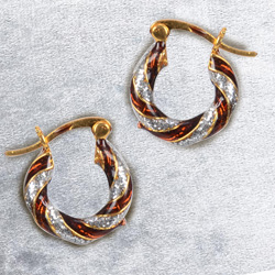 Lovely Gold Toned Metal Looped Earrings Set