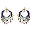 Entertaining Blue Dangle Chandbali Earrings