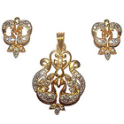 Dynamic Double Peacock Golden Tonned Ornamental Set Garnished with Faux Diamonds