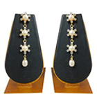 Remarkable Falling Pearl Earrings Studded with Sparkling Stones