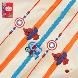 Impressive Collection of Five Cute Kids Rakhi with free Roli Tilak, and Chawal on Raksha Bandhan