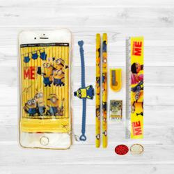 Minions Rakhi with Stationery Set