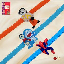 Marvelous Chota Bheem, Doraemon n Spider Man Rakhi Set