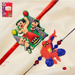 Striking Chota Bheem with Spider Man Rakhi Set