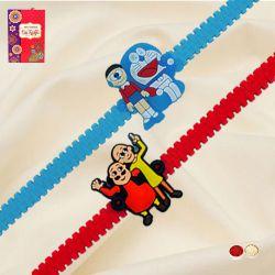 Marvelous Motu Patlu and Doraemon Rakhi Set