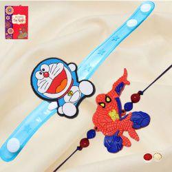 Exciting Doraemon and Spiderman Rakhi Set for Kids