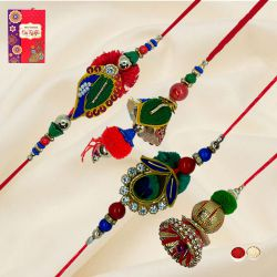 Auspicious Two Set of Pair Rakhi for your Special Bhaiya n Bhabhi