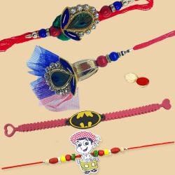 Classy Couple Rakhi Set for Bhaiya Bhabhi N 2 Cute Kids Rakhi for Rakhi Special