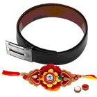 Fantastic Gift set of Reversible Leather Belt with Free Rakhi Roli Tilak and Chawal for Rakhi Celebration