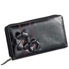 Send Flowery styled Leather ladies Wallet in Black