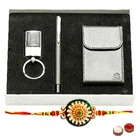 Remarkable Rakhi Special Gift Set of Visiting Card Holder, Pen and Steel Finish Key Chain with Free Rakhi, Roli Tilak and Chawal
