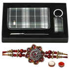 Auspicious Combo Pack of Diary, Pen and Key Chain with Rakhi, Roli Tilak and Chawal for your Brother