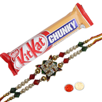 Remarkable One Swastik Stone Rakhi with KitKat Chunky