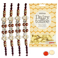 Exquisite 4 Rudraksh Rakhi with golden candy