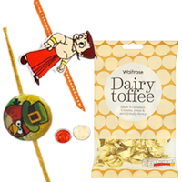 Classic Pair of Kids Special Angry Bird N Chotta Bheem Rakhi with  golden candy