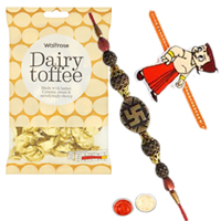 Eye-Catching One Chotta Bheem Kid Rakhi with One Bhaiya Rakhi with  golden candy