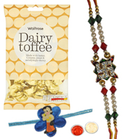 Trendy One Kid Rakhi of Chotta Bheem Design and One Rakhi Thread for Bhai with  golden candy