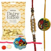 Designer 1 Angry Bird Kid Rakhi with 2 Bhaiya Rakhi with  golden candy