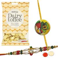Trendy 1 Chotta Bheem Rakhi with 1 Bhaiya Rakhi with  golden candy
