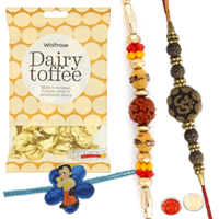 Stylish 1 Chotta Bheem Rakhi with 2 Bhaiya Rakhis with  golden candy