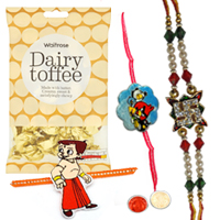 Prince-Charming 1 Bhaiya Rakhi with 2 Kid Rakhi in Angry Bird and Chotta Bheem Design