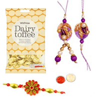 Trendsetting 2 Bhaiya and 1 Bhabhi Rakhi Set with  golden candy