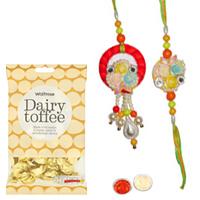 Marvelous 1 Bhaiya and 1 Bhabhi Rakhi Set with  golden candy