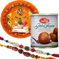 Lovable 2 Bhaiya Special Rakhi with Pooja Thali with  Rasgulla