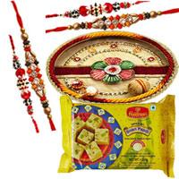 Wonderful Four Bhaiya Special Rakhi with Puja Thali with Soan-Papdi