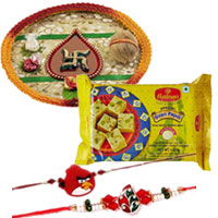 Attractive Set of Pooja Thali with 1 Angry Bird Rakhi and 1 Bhai Rakhi  with Soan-Papdi