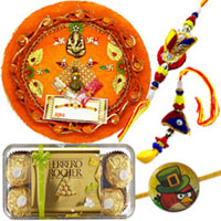 Smart Looking 2 Bhaiya Rakhi and 1 Angry Bird Rakhi with Puja Thali with Ferrero rocher