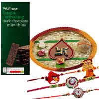 Graceful 2 Bhaiya Rakhi, 1 Angry Bird Rakhi N 1 Chotta Bheem Rakhi with Puja Thali with Waitrose Dark Chocolate Mint Thins
