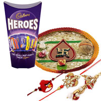 Charismatic Bhaiya Bhabhi Rakhi with One Angry Bird Rakhi and Pooja Thali with Cadbury Heroes