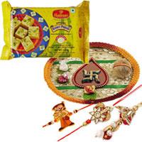 Beautiful Puja Thali with Bhaiya Bhabhi Rakhi N Chotta Bheem Rakhi